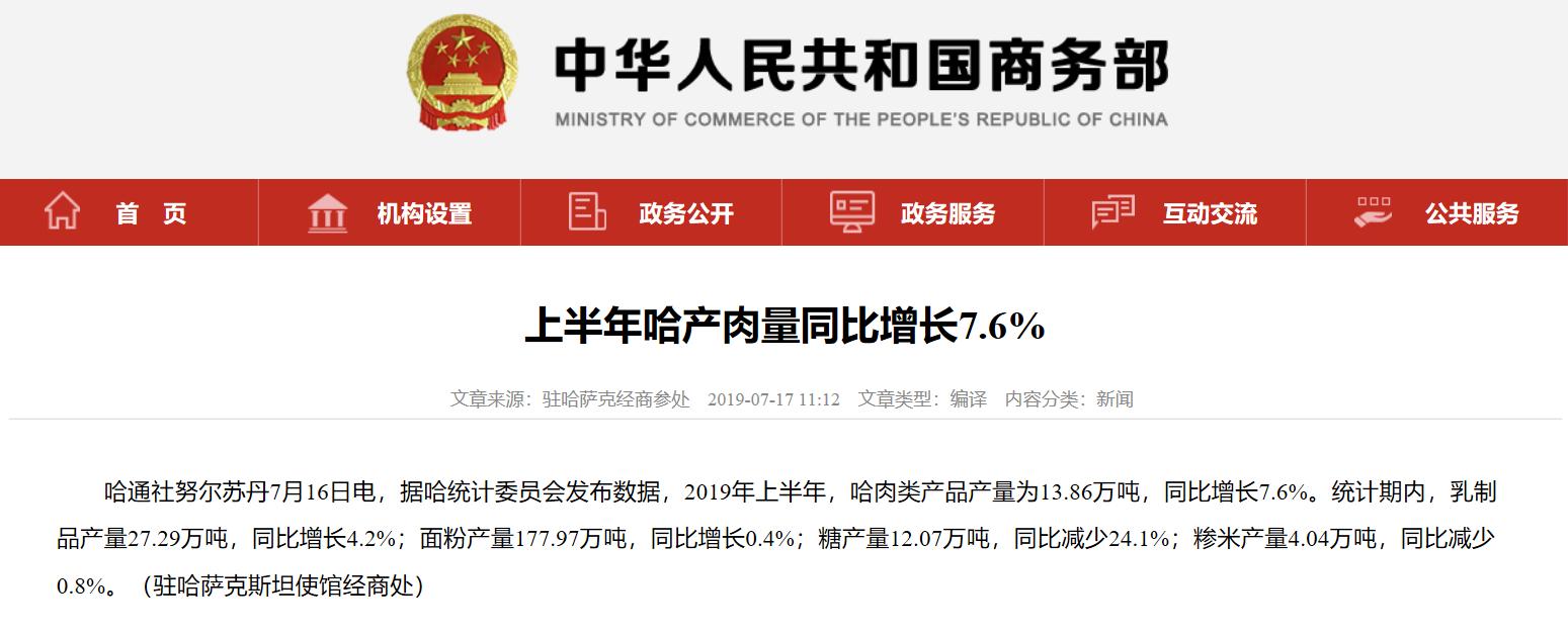 上半年哈产肉量同比增长7.6%